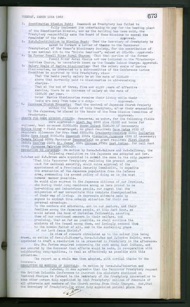 Vancouver Presbytery Minutes March 10, 1942