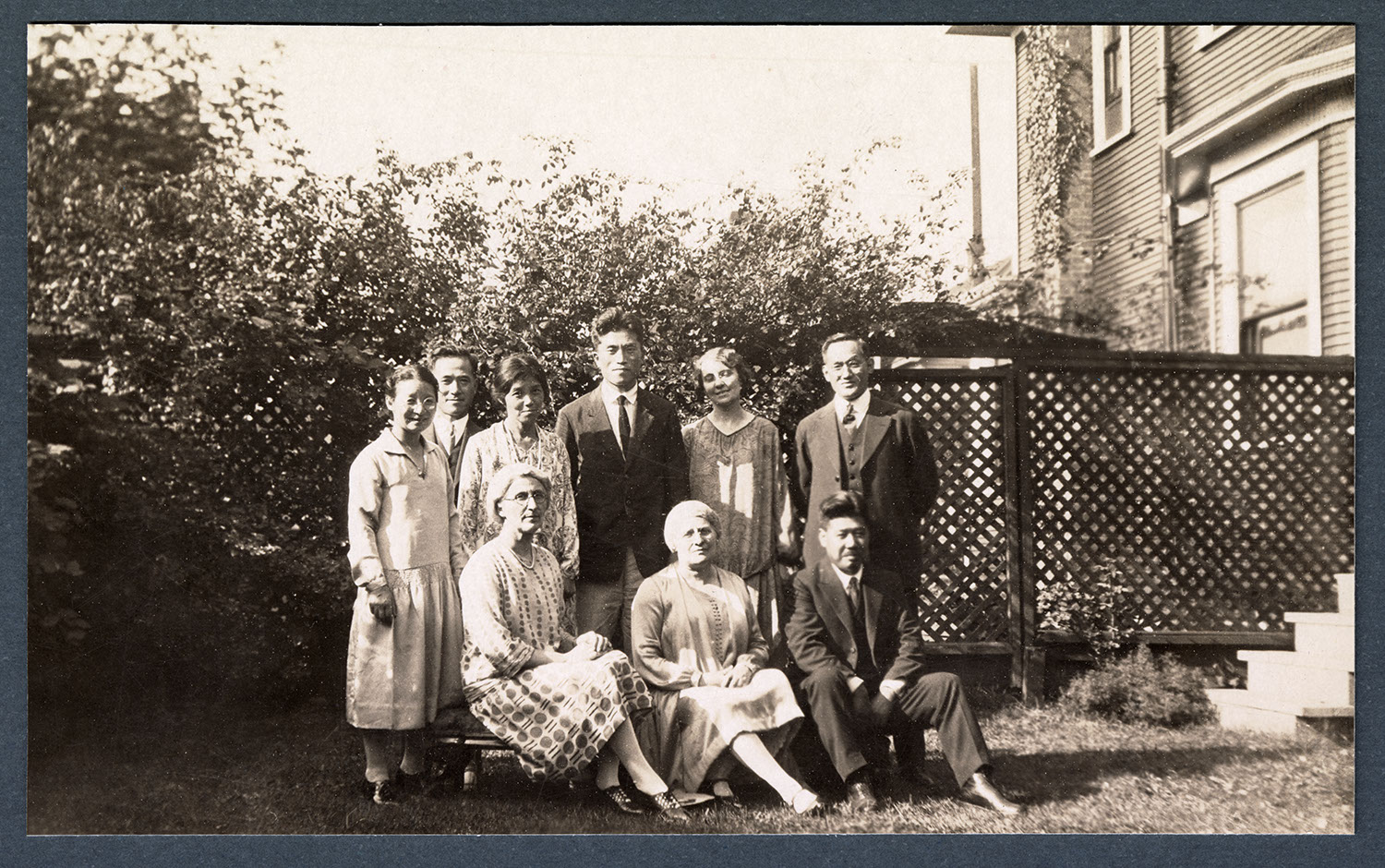 Group in the missionary residence garden, Vancouver