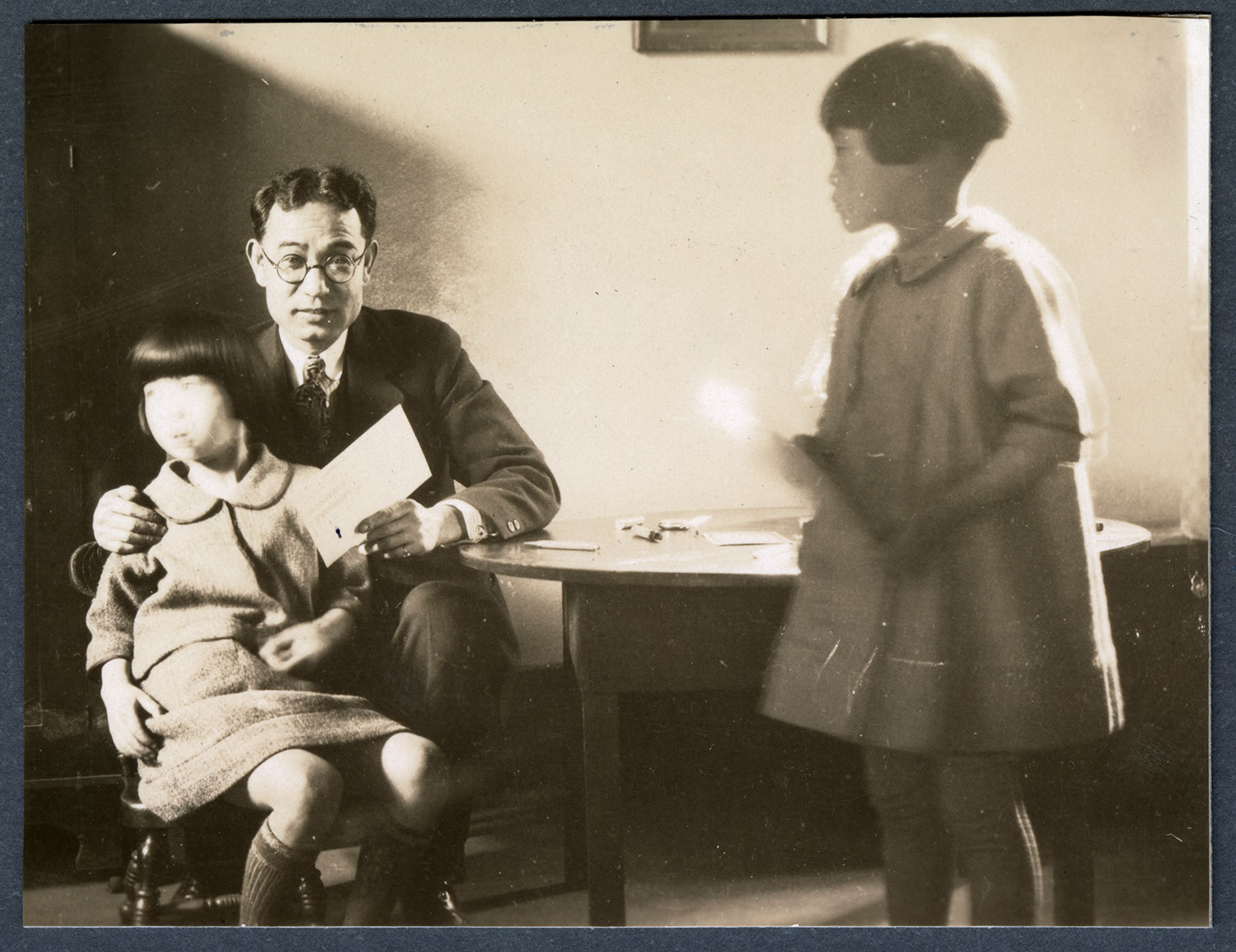Children having eyes examined at the clinic
