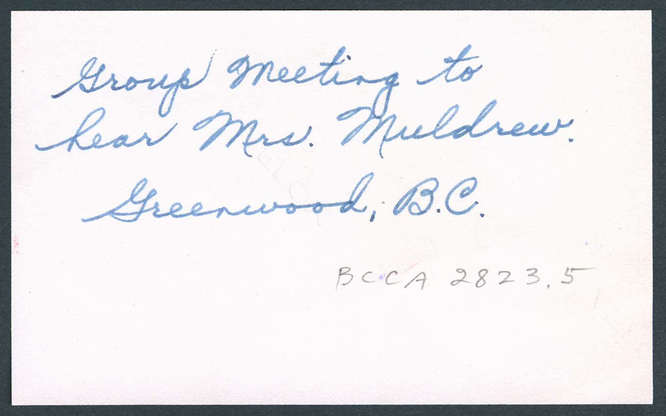 Group meeting to hear Mrs. Muldrew, Greenwood, BC: Verso