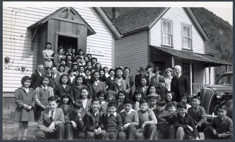 Easter morning congregation, New Denver, BC: Recto