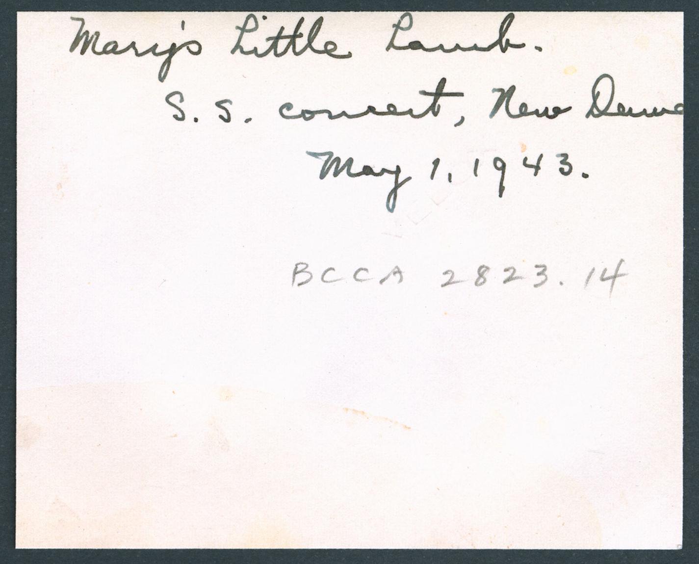 United Church Sunday school concert--Mary's Little Lamb, New Denver, BC: Verso