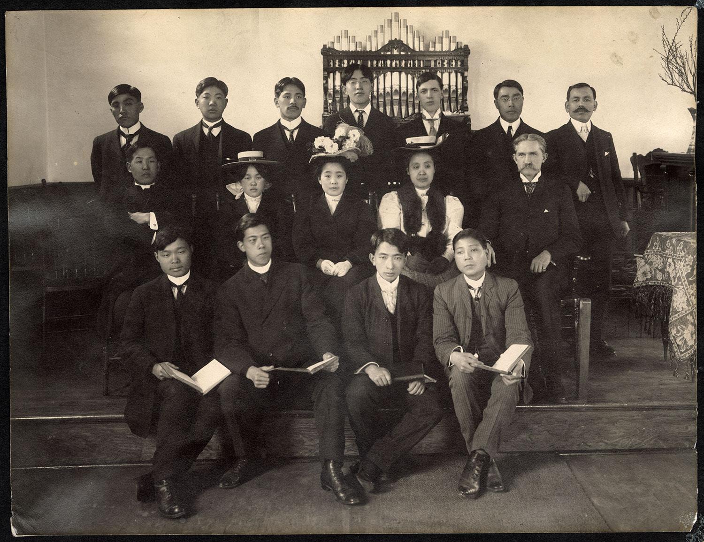 Group portrait in Japanese Methodist Church