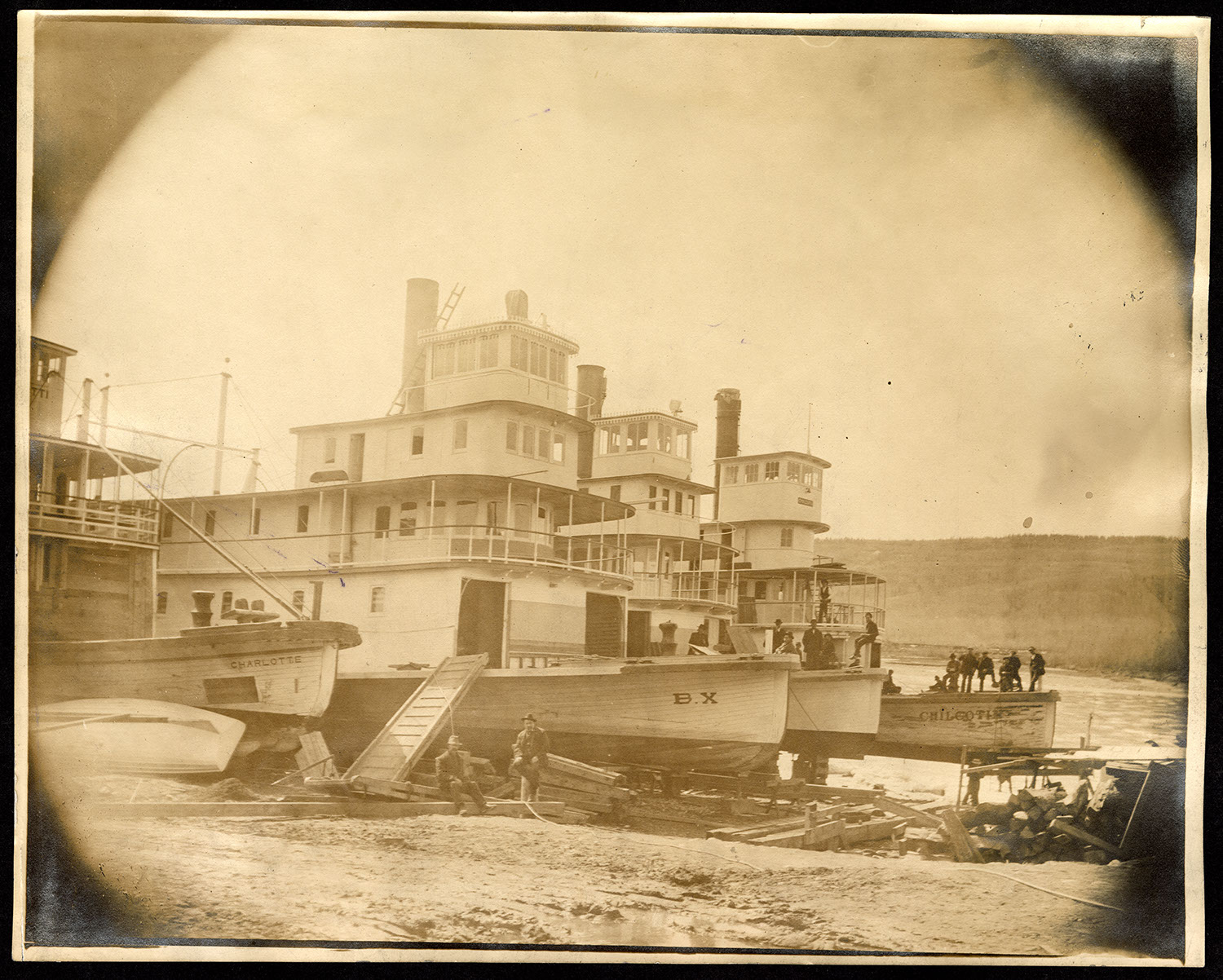 Sternwheelers docked on shore