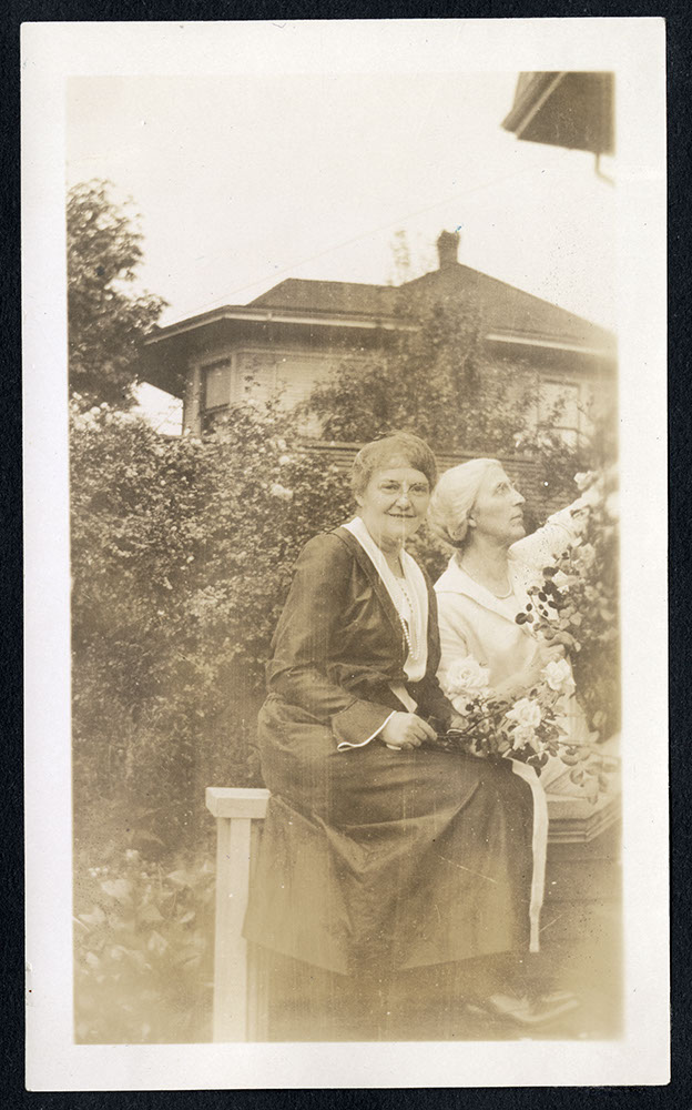 Jessie Howie and unidentified woman at back of missionary residence
