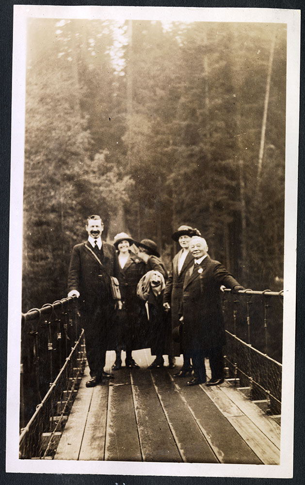 Dr. S.S. Osterhout and group on the Capilano Suspension Bridge