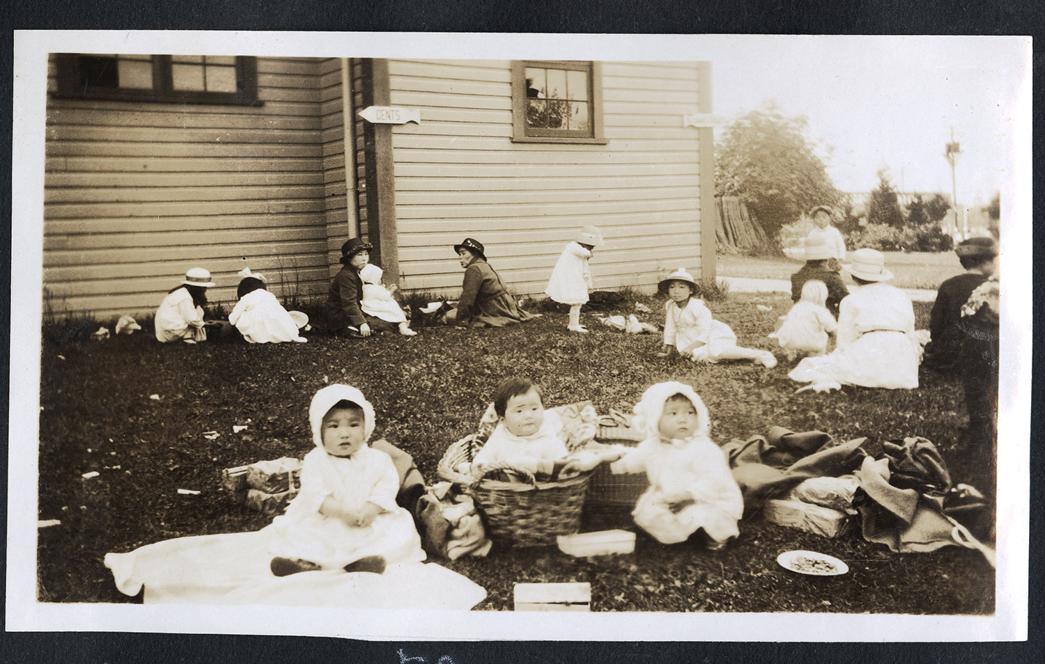 Toddlers and parents having a picnic