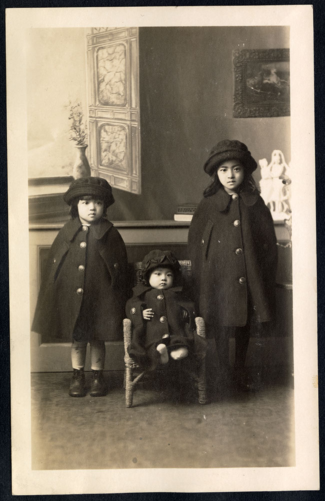 Portrait of three little girls