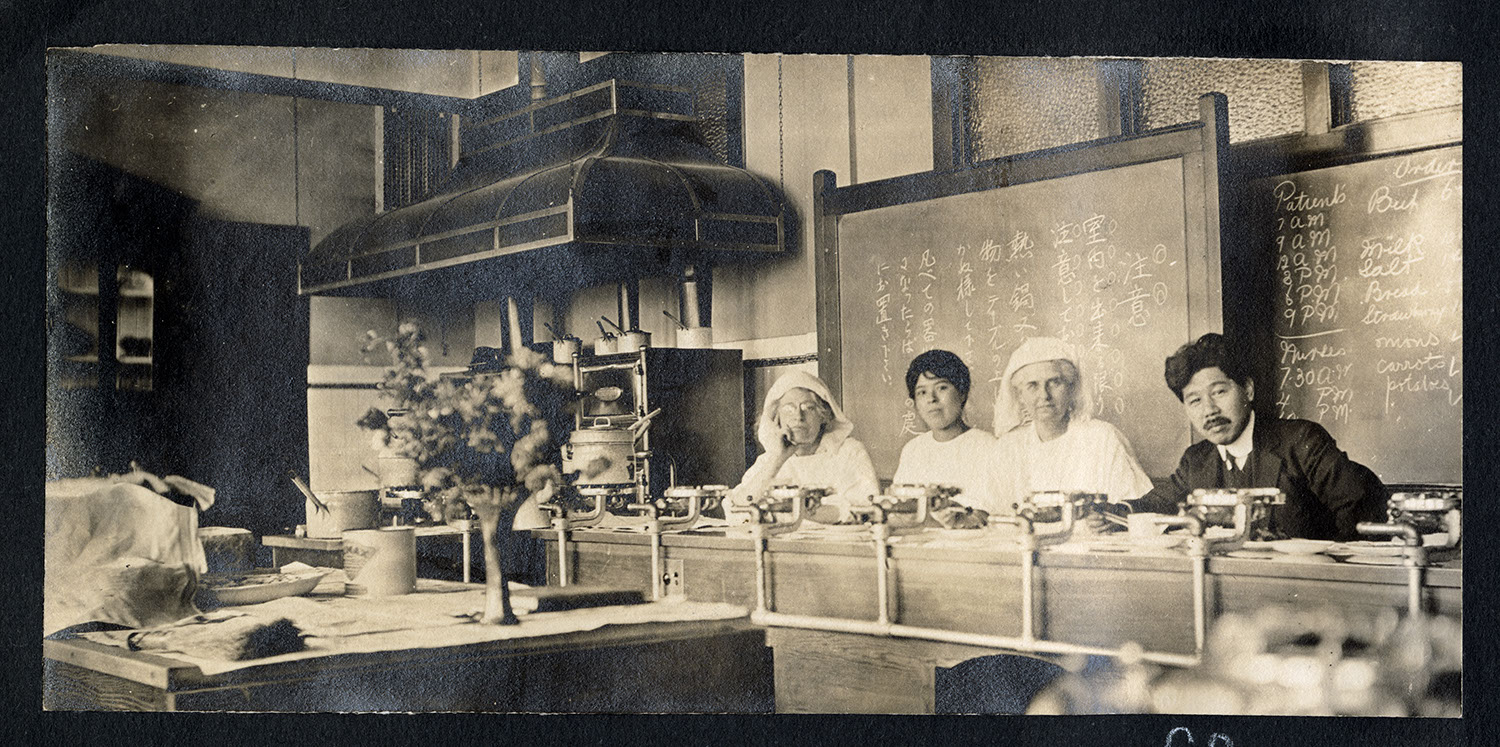 Hospital staff in the kitchen of Strathcona School