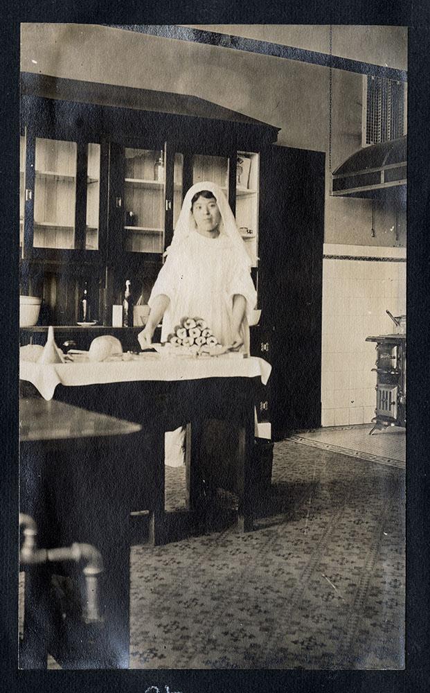 Yamazaki-san in the kitchen of Strathcona School