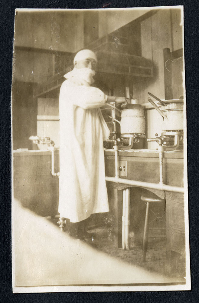 Kosaburo Shimizu in the kitchen of Strathcona School