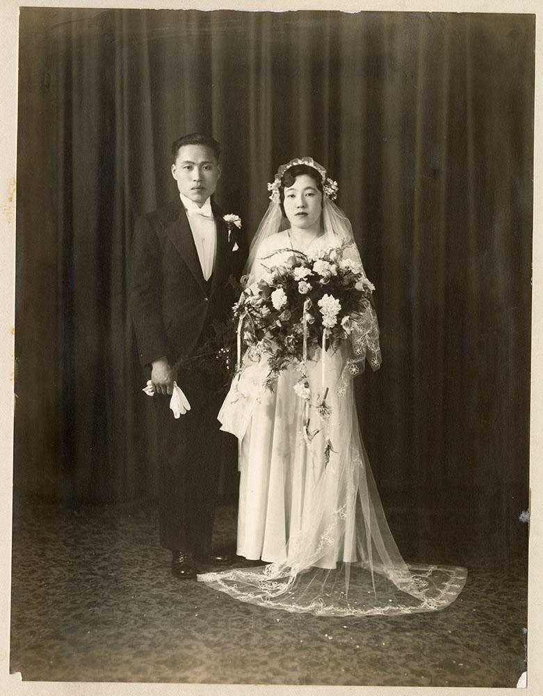 Wedding portrait of young couple
