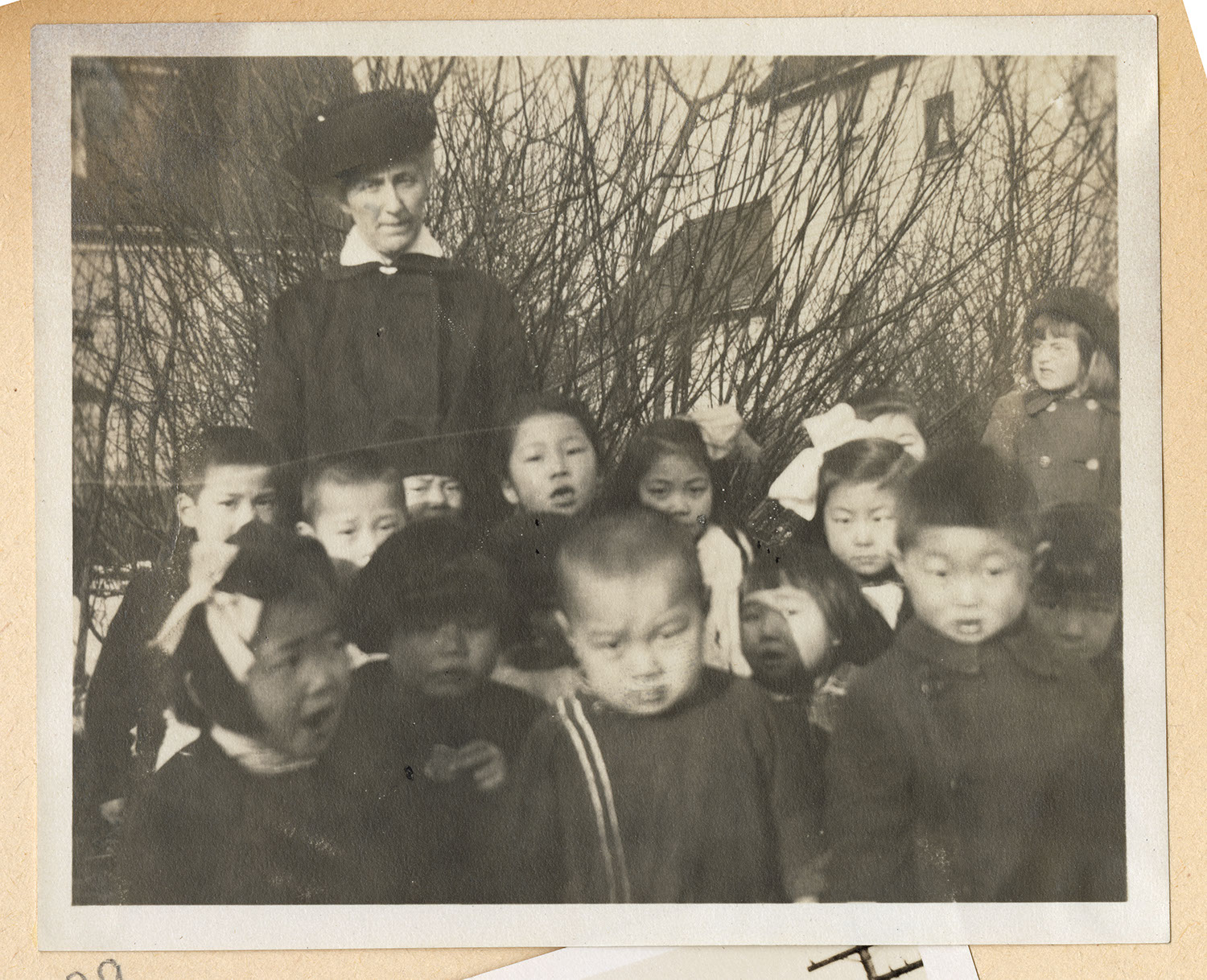 Jessie Howie with a group of children
