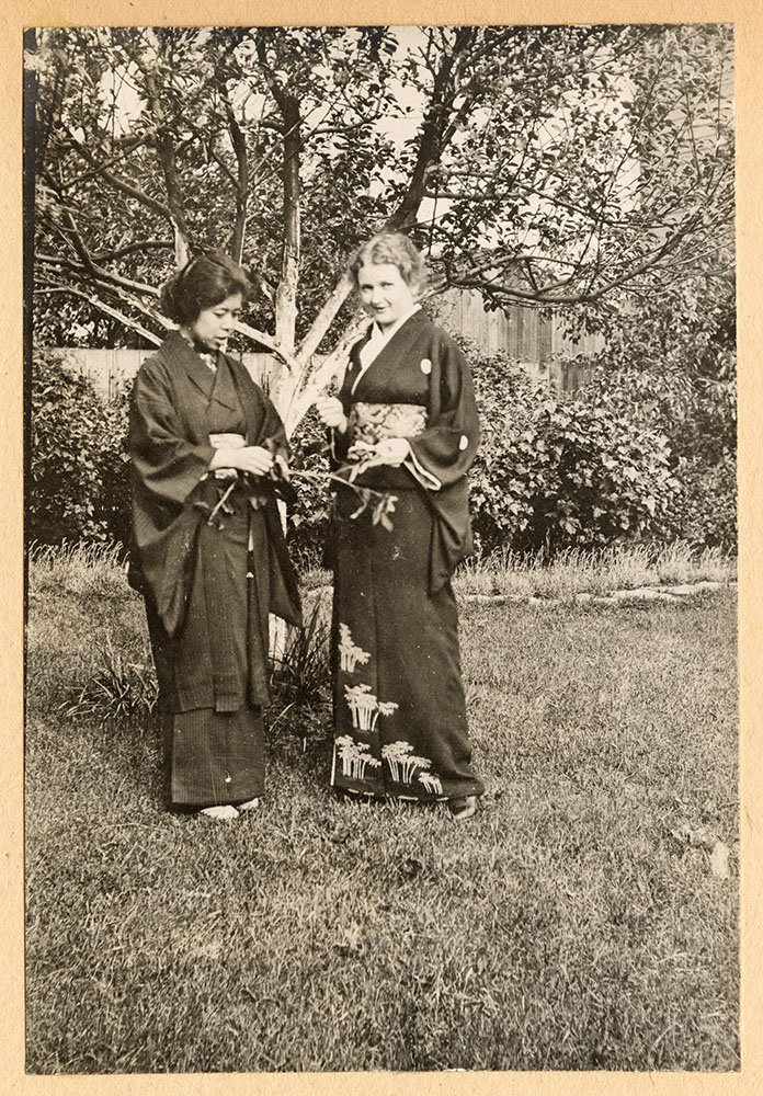 Tadako Hibi and Miss Tompkins in the garden