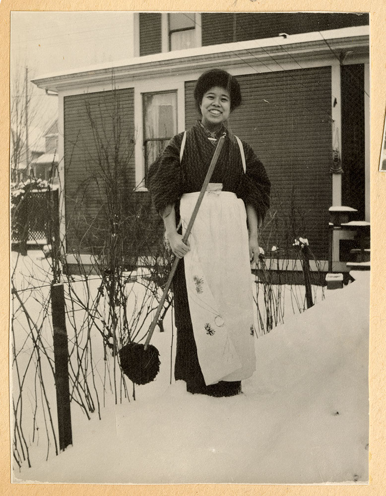 Tadako Hibi in back yard of the missionary residence