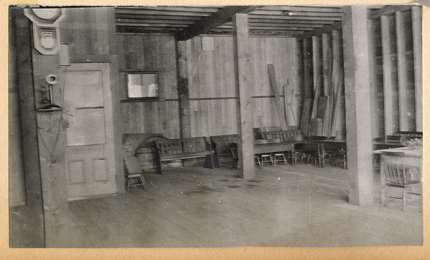 Interior of a wood frame building