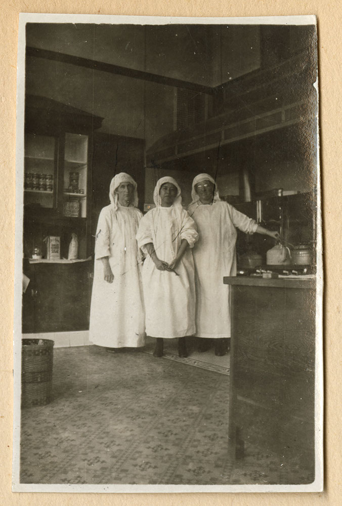 Hospital staff in Strathcona School kitchen