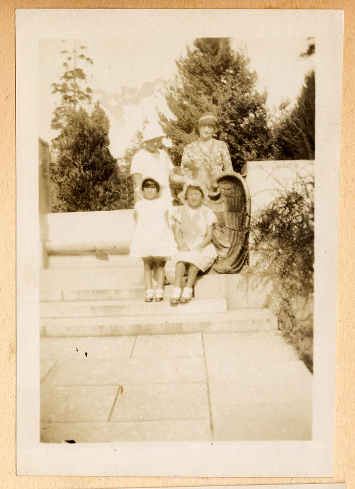 Two women and girls in the park