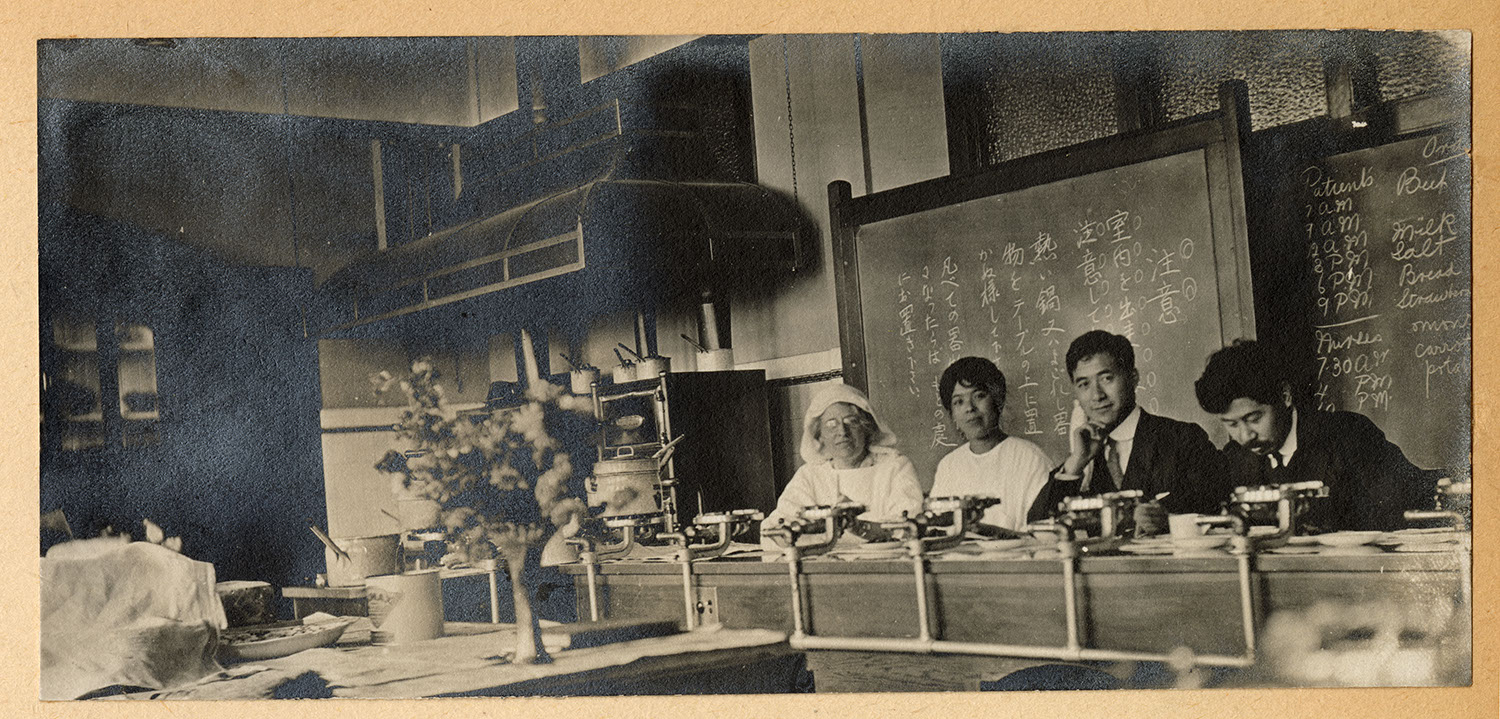 Hospital staff in the school kitchen
