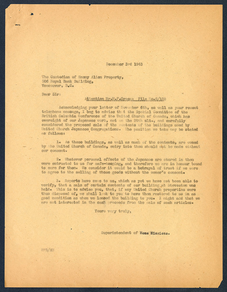 Copy of letter from W.P. Bunt to the Custodian of Enemy Alien Property