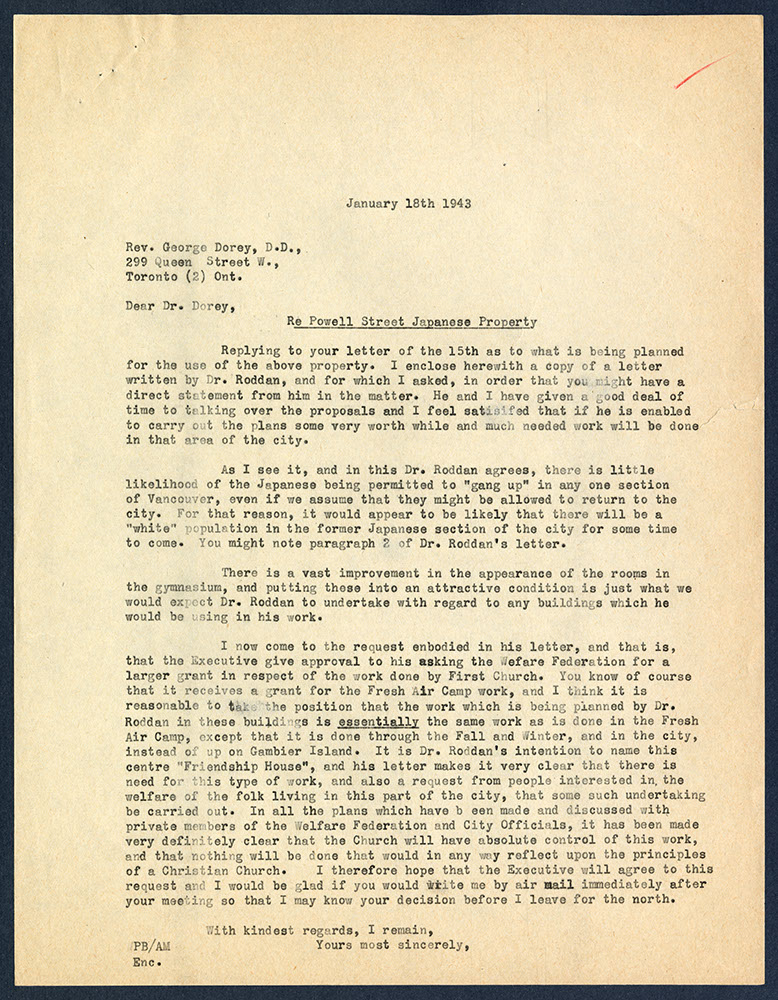 Copy of letter from W.P. Bunt to George Dorey