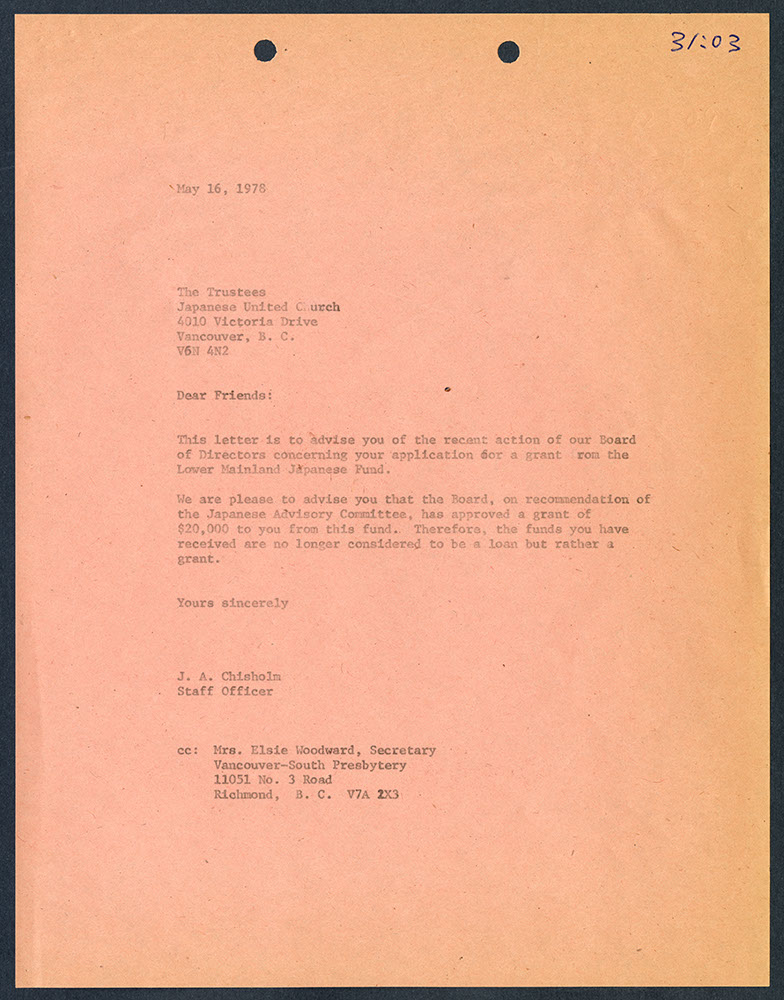 Copy of letter from J.A. Chisholm to Trustees