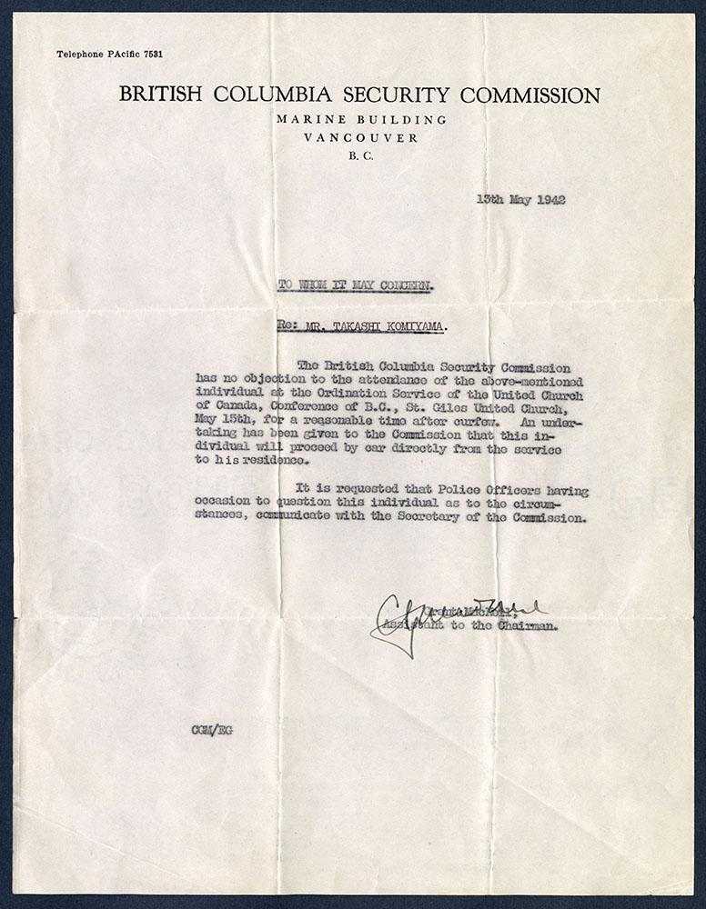 Letter from British Columbia Security Commission re: Mr. Takashi Komiyama