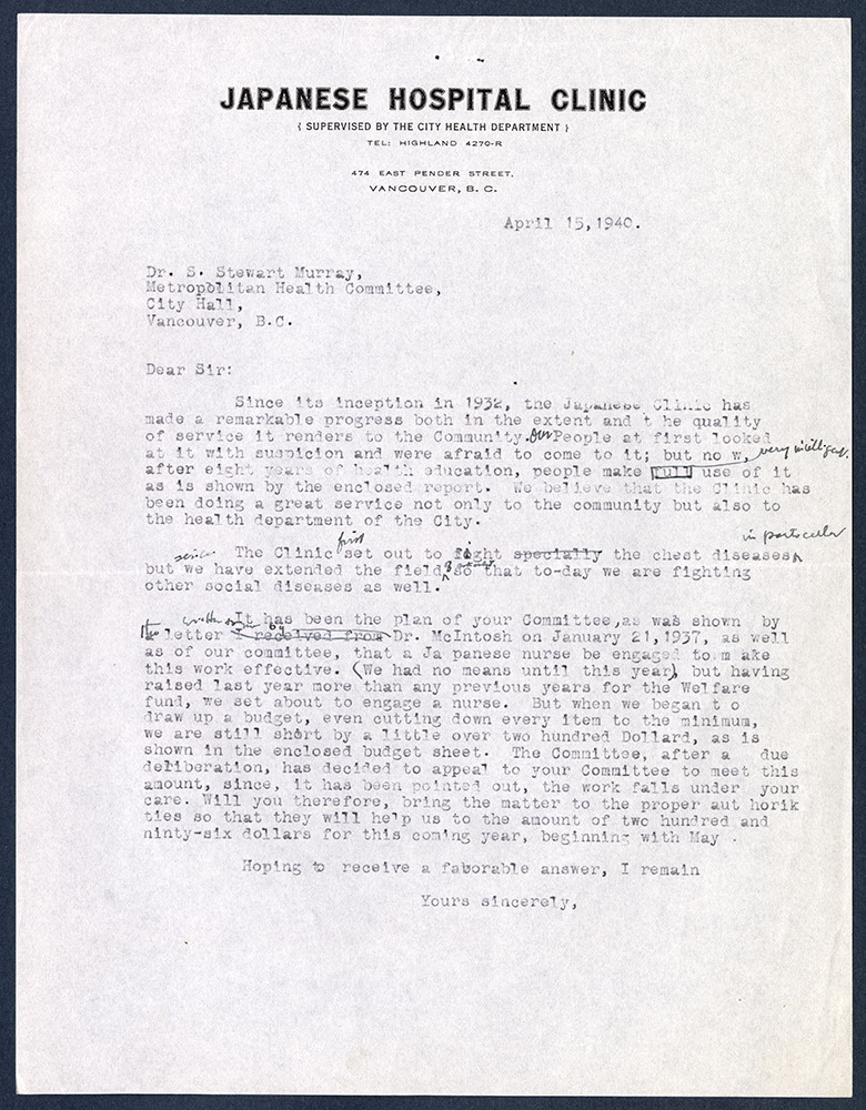Draft of letter from Japanese Hospital Clinic to Dr. S. Stewart Murray