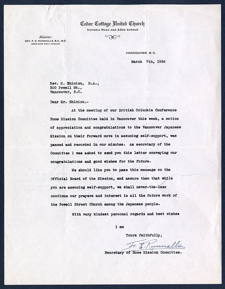 Letter from F.E. Runnalls to Rev. K. Shimizu