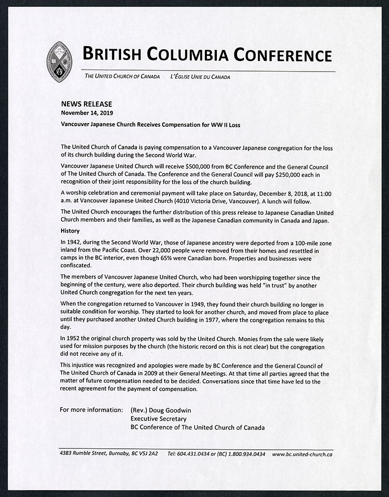 BC Conference news release