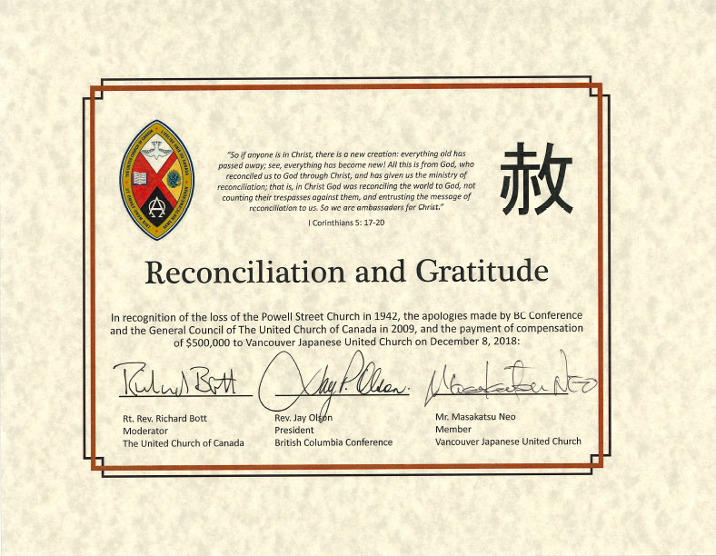 Certificate of reconciliation and gratitude